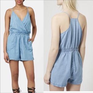 Topshop MOTO Chambray Romper